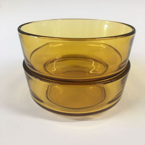 Amber Glass - Serving Dessert Dish x 2 - Mid Century